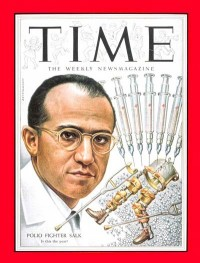 Jonas Salk on the cover of Time after perfecting the polio vaccine.
