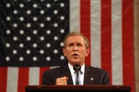"""Former President Bush in the wake of 9/11, """"You're either with us or against us."""""""