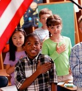 Children learn the pledge of allegiance early on.
